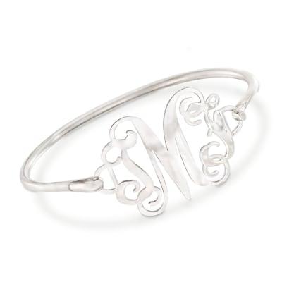 Sterling Silver Open Script Monogram Bangle Bracelet