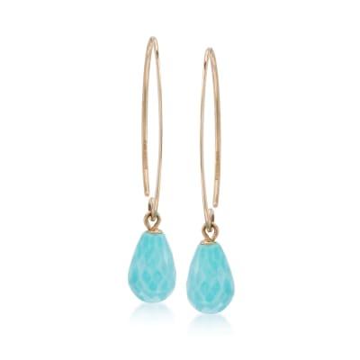 Turquoise Briolette Drop Earrings in 14kt Yellow Gold