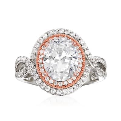 3.69 ct. t.w. CZ Ring in Sterling Silver and 18kt Rose Gold Over Sterling
