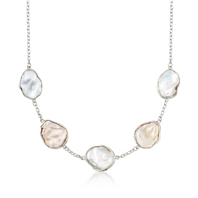 14-22mm Cultured Keshi Pearl Station Necklace in Sterling Silver