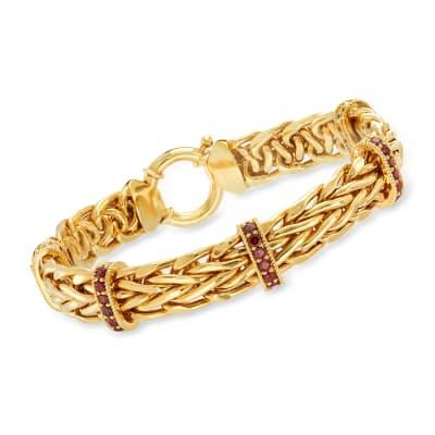 2.00 ct. t.w. Garnet Wheat-Link Station Bracelet in 18kt Gold Over Sterling