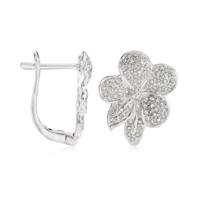 .50 ct. t.w. Diamond Flower Earrings in 14kt White Gold