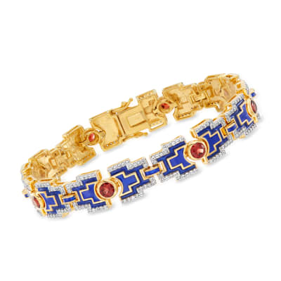 2.80 ct. t.w. Garnet and 1.90 ct. t.w. White Topaz Bracelet with Blue Enamel in 18kt Gold Over Sterling