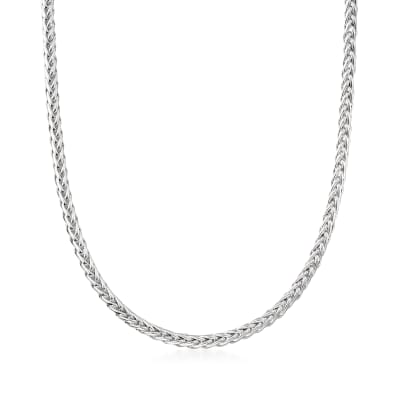 Italian Sterling Silver Wheat-Link Necklace with Magnetic Clasp