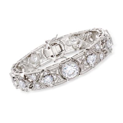 20.00 ct. t.w. CZ Floral Bracelet in Sterling Silver