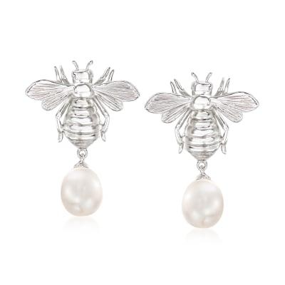 8-8.5mm Cultured Pearl Bumblebee Drop Earrings in Sterling Silver