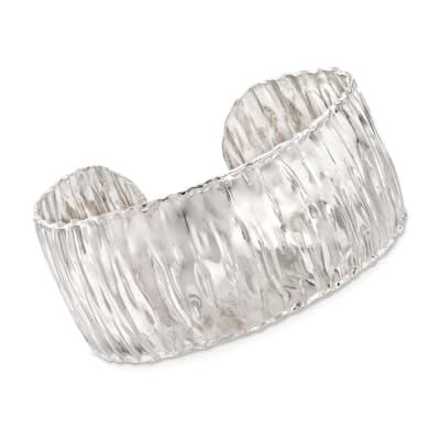 Italian Sterling Silver Wide Wavy Cuff Bracelet