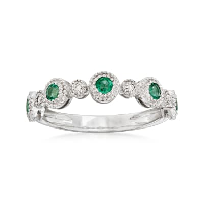 .30 ct. t.w. Emerald Stackable Ring with Diamond Accents in 14kt White Gold