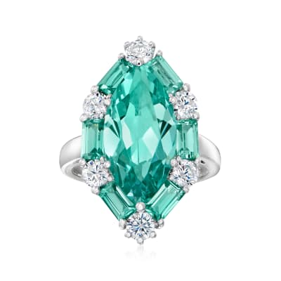 6.80 ct. t.w. Simulated Green Tourmaline and .90 ct. t.w. CZ Ring in Sterling Silver
