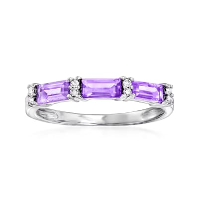 .65 ct. t.w. Amethyst Ring with Diamond Accents in 14kt White Gold