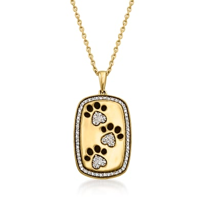 .20 ct. t.w. Diamond Paw Print Pendant Necklace with Black Enamel in 18kt Gold Over Sterling