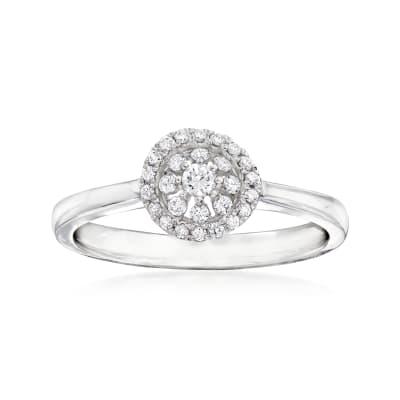 C. 1990 Vintage Piero Milano .20 ct. t.w. Diamond Cluster Ring in 18kt White Gold