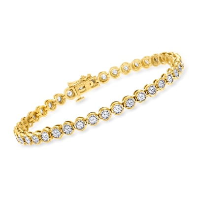 2.00 ct. t.w. Bezel-Set Diamond Bracelet in 18kt Gold Over Sterling