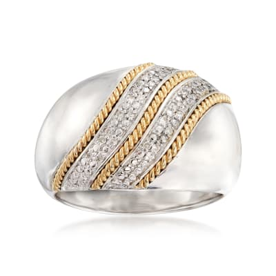 .11 ct. t.w. Diamond Ring in Sterling Silver with 14kt Yellow Gold