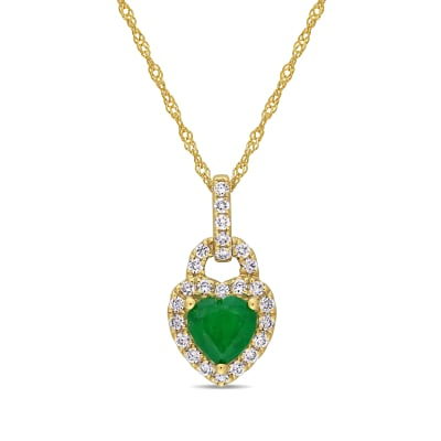 .60 Carat Emerald and .25 ct. t.w. Diamond Heart Pendant Necklace in 14kt Yellow Gold