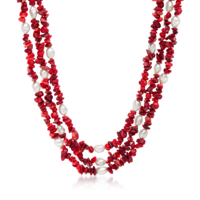 7-8mm Cultured Pearl and 4-9mm Red Coral Necklace with Sterling Silver