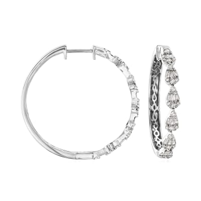 .64 ct. t.w. Diamond Hoop Earrings in 14kt White Gold