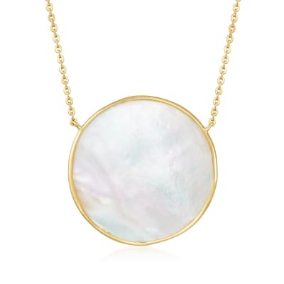 Mother-Of-Pearl Pendant Necklace in 18kt Gold Over Sterling