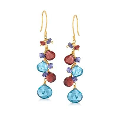 12.80 ct. t.w. Multi-Gemstone Drop Earrings in 18kt Gold Over Sterling