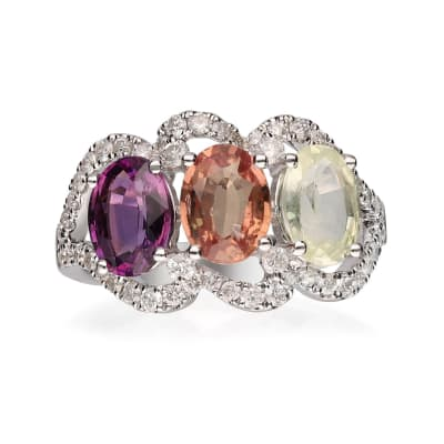 4.00 ct. t.w. Multicolored Sapphire Ring in .54 ct. t.w. Diamond Ring in 14kt White Gold