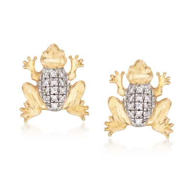 Frog Earrings with Diamond Accents in 14kt Yellow Gold
