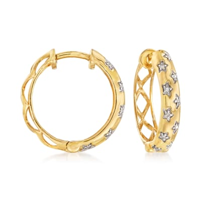.10 ct. t.w. Diamond Star Hoop Earrings in 18kt Gold Over Sterling