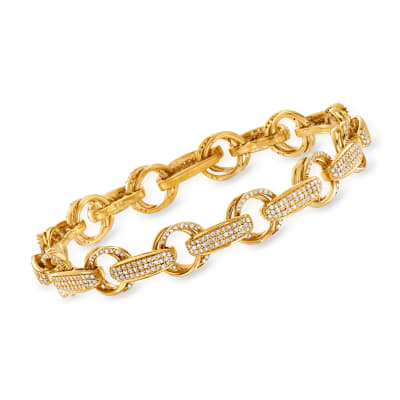 2.00 ct. t.w. Diamond Link Bracelet in 18kt Gold Over Sterling