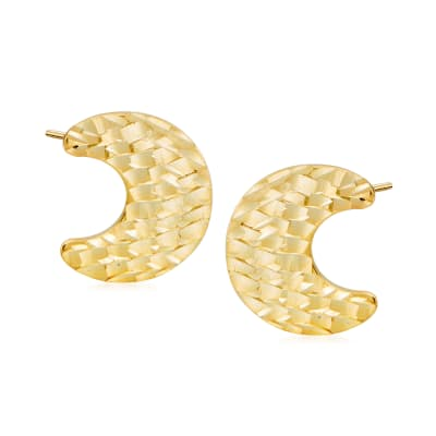 Italian 14kt Yellow Gold Crescent Moon Stud Earrings