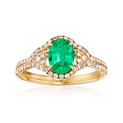 1.30 Carat Emerald and .40 ct. t.w. Diamond Ring in 14kt Yellow Gold