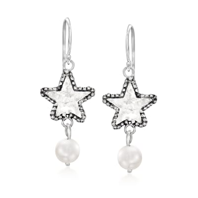 7-7.5mm Cultured Pearl Star Drop Earrings in Sterling Silver