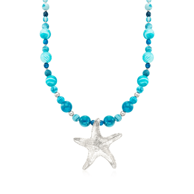 Blue Agate Bead and Starfish Drop Necklace in Sterling Silver