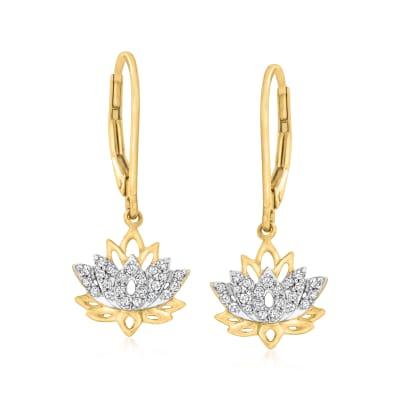 .17 ct. t.w. Diamond Lotus Drop Earrings in 18kt Gold Over Sterling