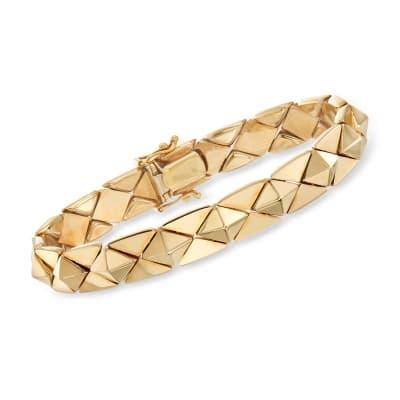 Italian 14kt Yellow Gold Pyramid Bracelet