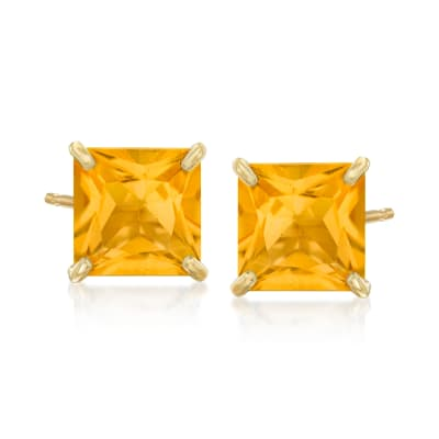 3.60 ct. t.w. Citrine Square Stud Earrings in 14kt Yellow Gold