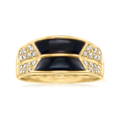 C. 1990 Vintage Black Onyx Ring with .23 ct. t.w. Diamonds in 18kt Yellow Gold