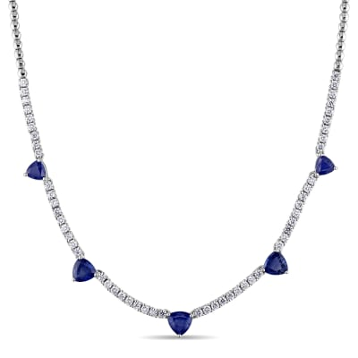 4.30 ct. t.w. Sapphire and 1.60 ct. t.w. Diamond Station Necklace in 18kt White Gold