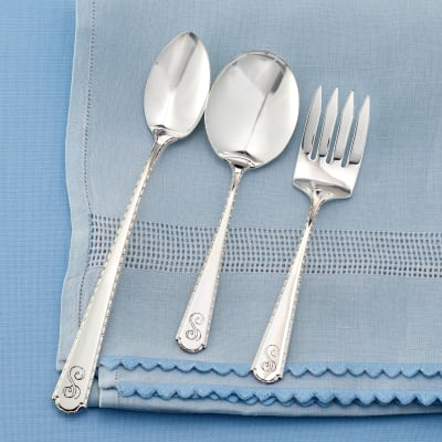 Sterling Silver Roped Edge Baby Feeding Set