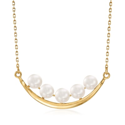 5.5-6mm Cultured Pearl Curved Bar Necklace in 14kt Yellow Gold