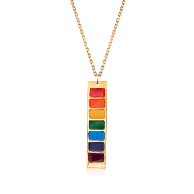 Italian Rainbow Enamel Bar Necklace in 14kt Yellow Gold