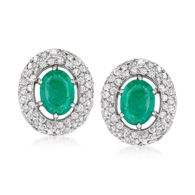 2.20 ct. t.w. Emerald and 1.40 ct. t.w. Diamond Halo Earrings in 14kt White Gold