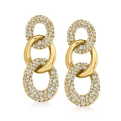 1.00 ct. t.w. Diamond Link Drop Earrings in 18kt Gold Over Sterling