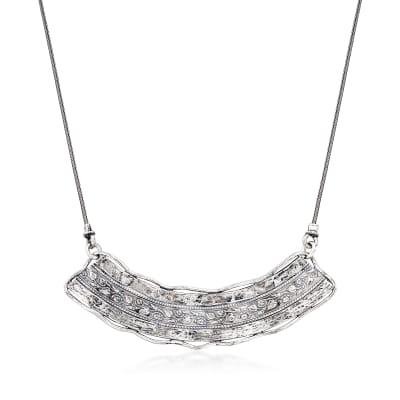 Sterling Silver Floral Bib Necklace