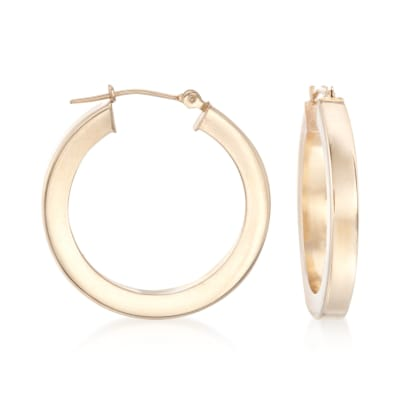 3mm 14kt Yellow Gold Squared Hoop Earrings
