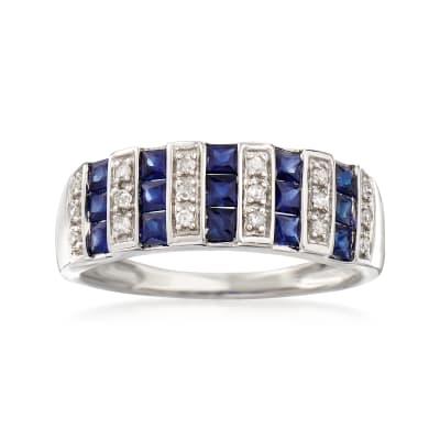 .80 ct. t.w. Sapphire and .12 ct. t.w. Diamond Ring in 14kt White Gold