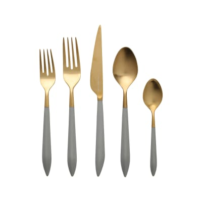 "Vietri ""Ares Oro"" Light Gray 5-pc. 18/10 Stainless Steel Place Setting from Italy"