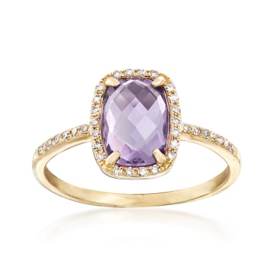 1.50 Carat Amethyst Ring with .14 ct. t.w. Diamonds in 14kt Yellow Gold