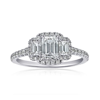 1.37 ct. t.w. Diamond Three-Stone Ring in Platinum