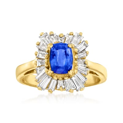 C. 1990 Vintage 1.05 Carat Sapphire and 1.40 ct. t.w. Diamond Ring in 14kt Yellow Gold