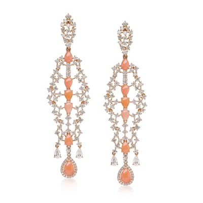 Peach Coral and 6.40 ct. t.w. Diamond Chandelier Earrings in 18kt Rose Gold