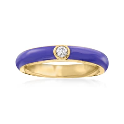 .10 Carat Diamond and Purple Enamel Ring in 18kt Gold Over Sterling